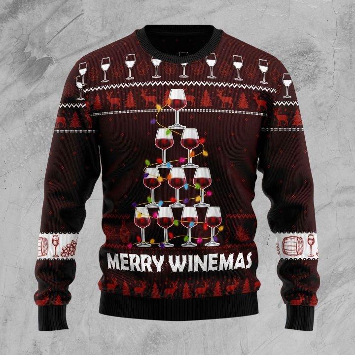 merry winemas christmas tree all over printed ugly christmas sweater 3