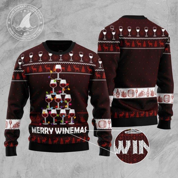 merry winemas christmas tree all over printed ugly christmas sweater 5