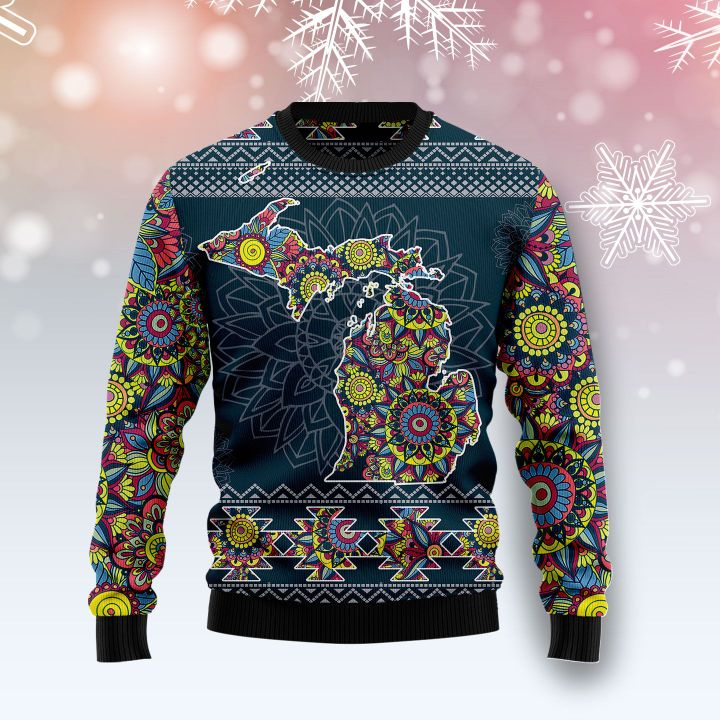 michigan blue mandala all over printed ugly christmas sweater 2
