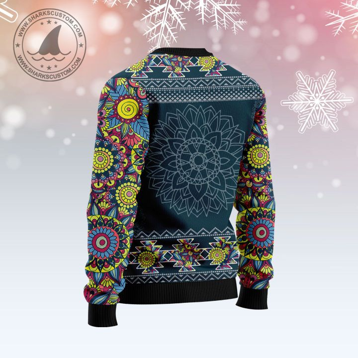 michigan blue mandala all over printed ugly christmas sweater 4