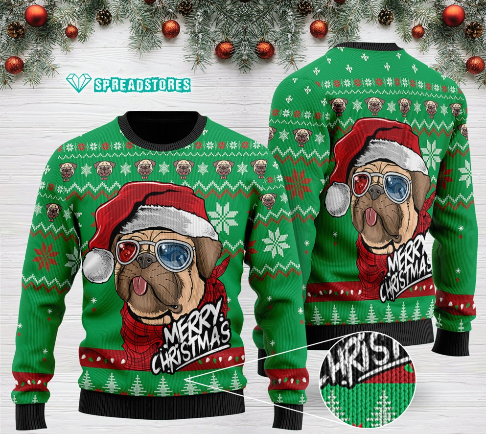 pug merry christmas all over printed ugly christmas sweater 2 - Copy
