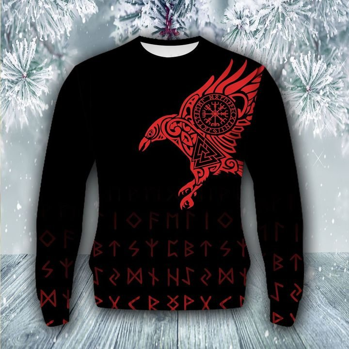 raven viking all over printed ugly christmas sweater 3