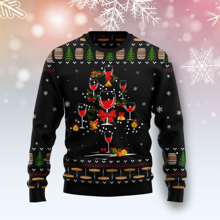 red wine christmas tree all over printed ugly christmas sweater 2