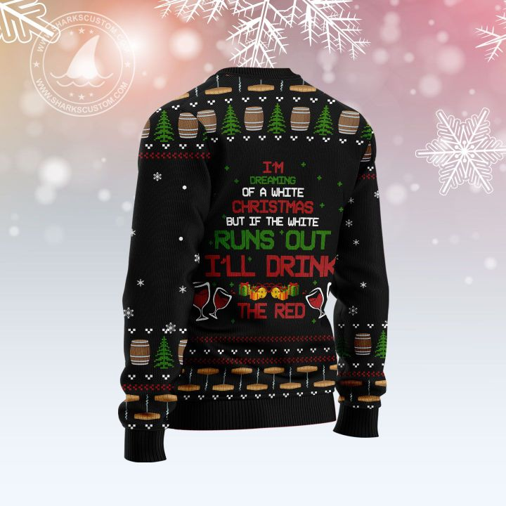 red wine christmas tree all over printed ugly christmas sweater 4