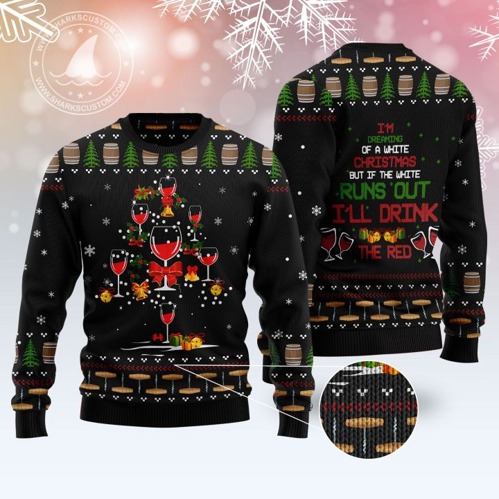 red wine christmas tree all over printed ugly christmas sweater 5