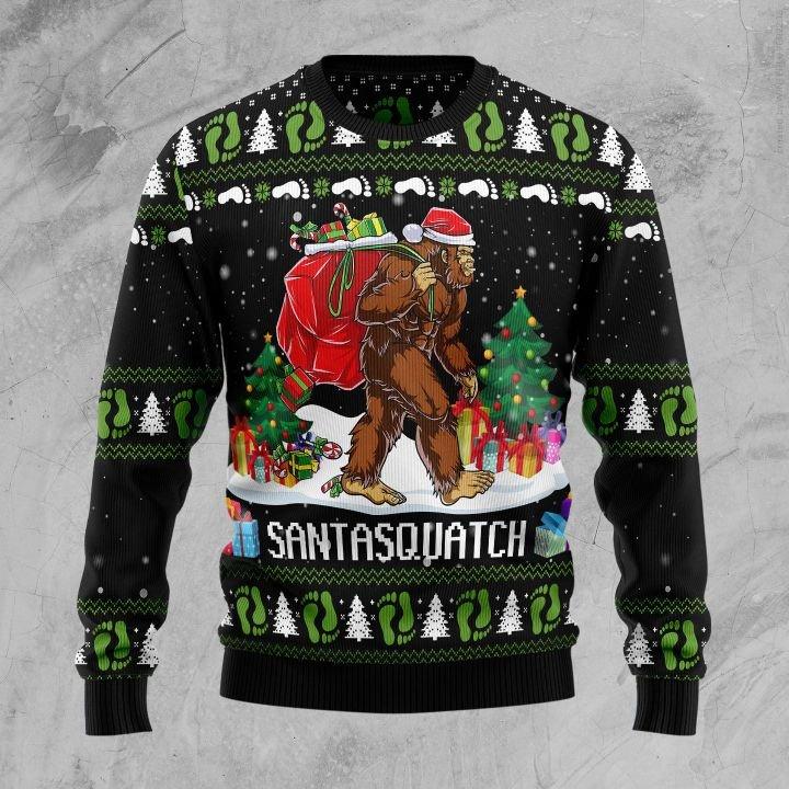 santa bigfoot santasquatch all over printed ugly christmas sweater 2