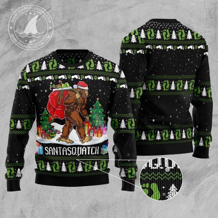 santa bigfoot santasquatch all over printed ugly christmas sweater 5