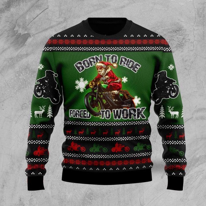 santa born to ride forced to work all the way all over printed ugly christmas sweater 2