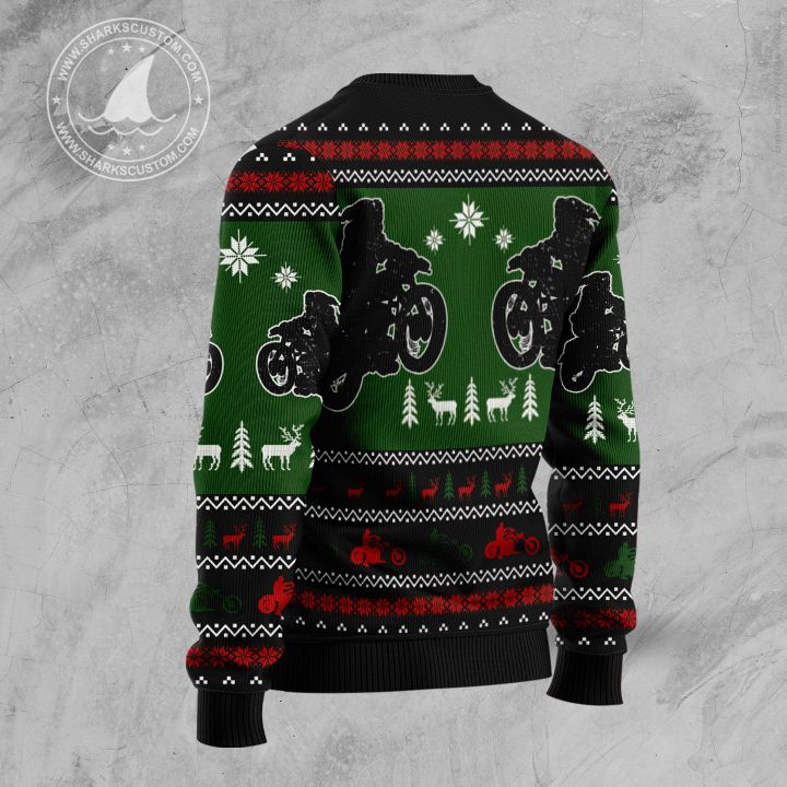 santa born to ride forced to work all the way all over printed ugly christmas sweater 3