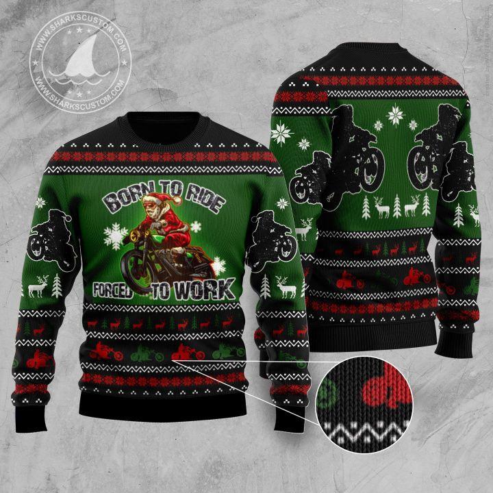 santa born to ride forced to work all the way all over printed ugly christmas sweater 5