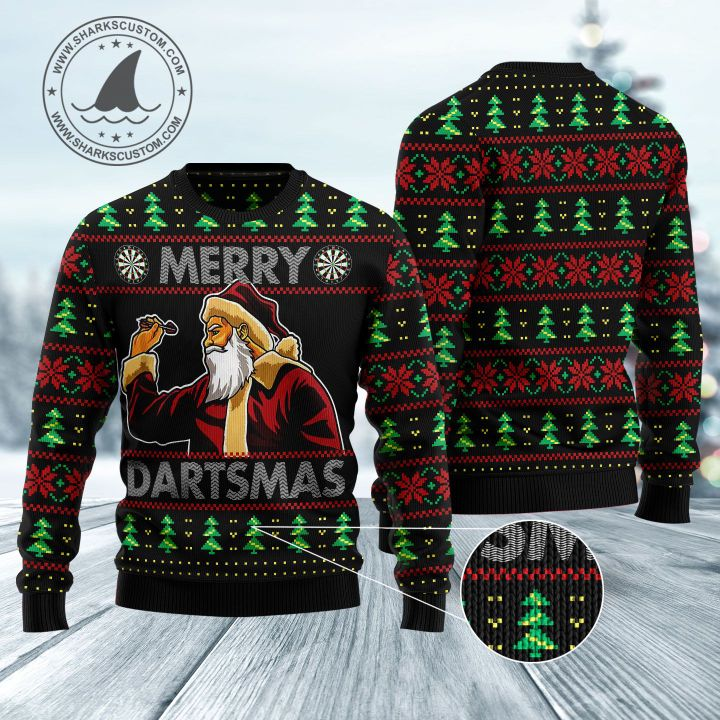 santa claus merry dartsmas all over printed ugly christmas sweater 5