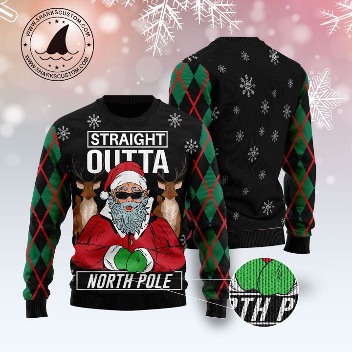 santa claus straight outta north pole all over printed ugly christmas sweater 5