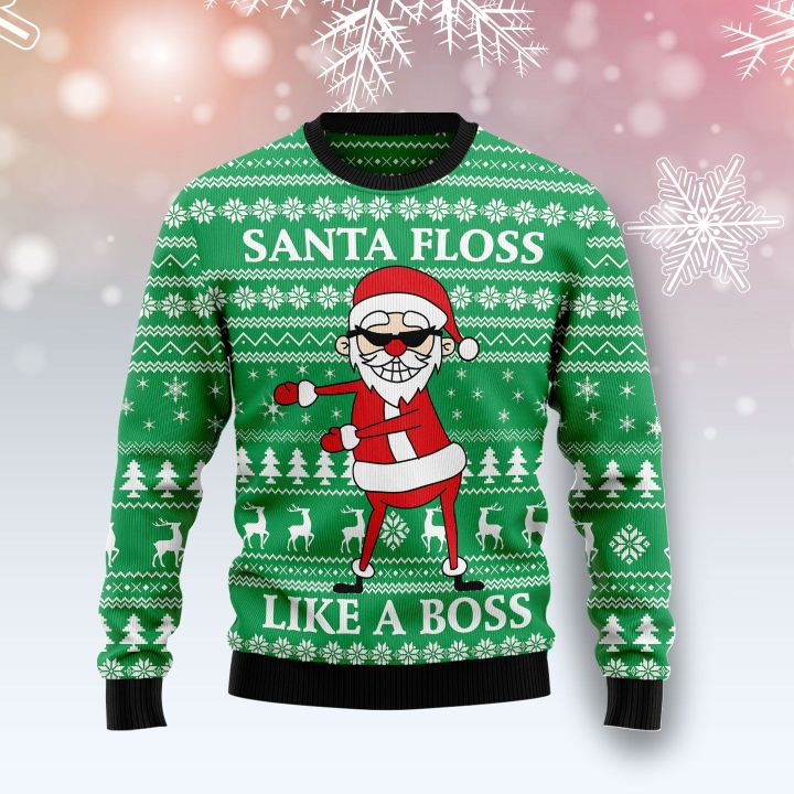 santa floss like a boss all over printed ugly christmas sweater 2