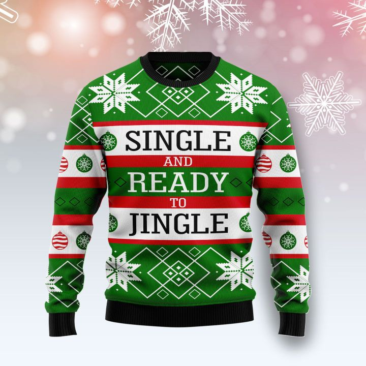 single and ready to jingle all over printed ugly christmas sweater 3
