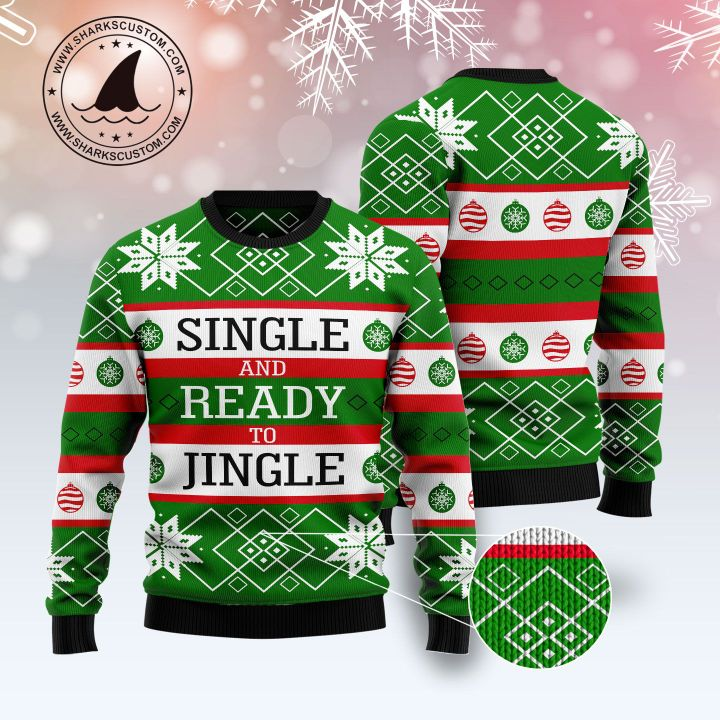 single and ready to jingle all over printed ugly christmas sweater 5