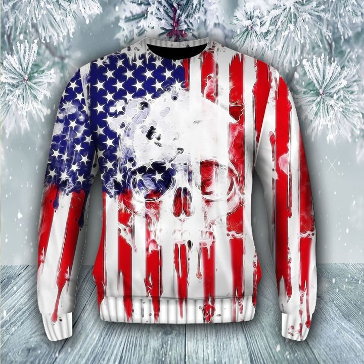 skull american flag all over printed ugly christmas sweater 3