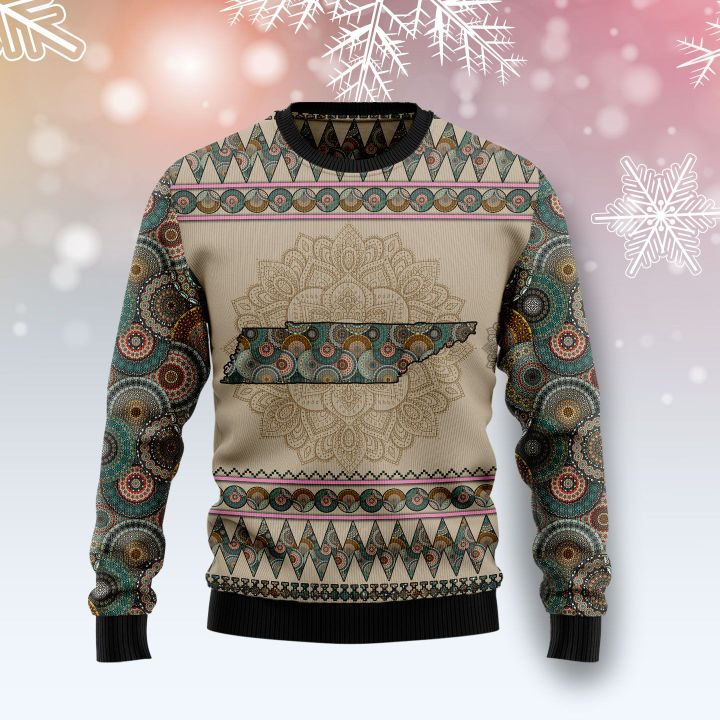 tennessee mandala all over printed ugly christmas sweater 2