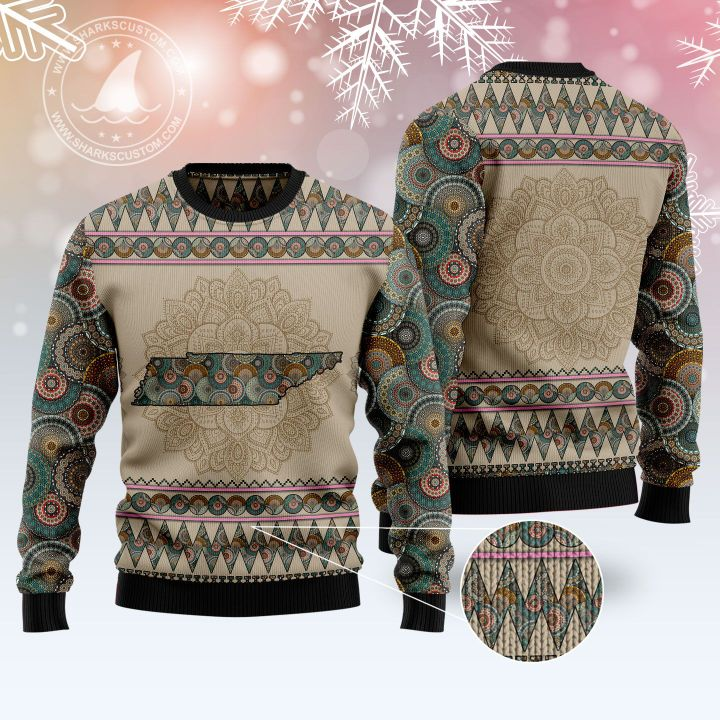 tennessee mandala all over printed ugly christmas sweater 5