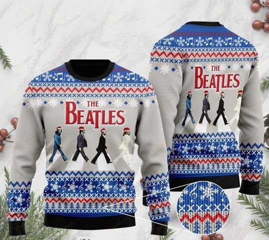 the beatles walking all over printed ugly christmas sweater 2