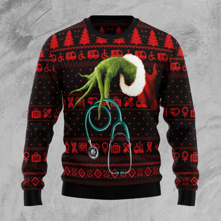 the grinch for nurse all over printed ugly christmas sweater 2