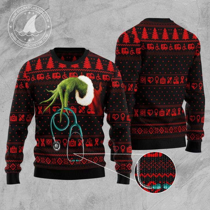 the grinch for nurse all over printed ugly christmas sweater 5