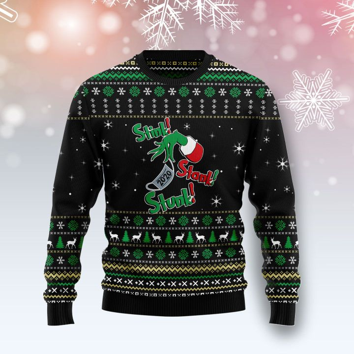the grinch stink stank stunk all over printed ugly christmas sweater 2