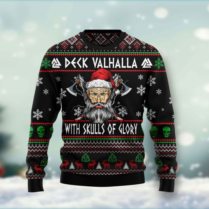 viking deck valhalla with skulls of glory all over printed ugly christmas sweater 3