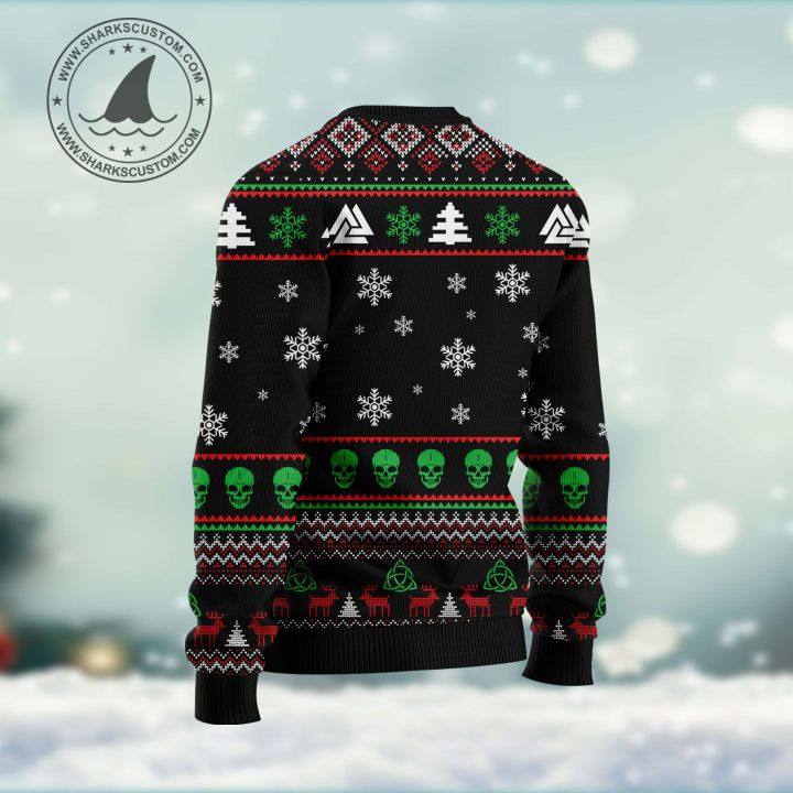 viking deck valhalla with skulls of glory all over printed ugly christmas sweater 4