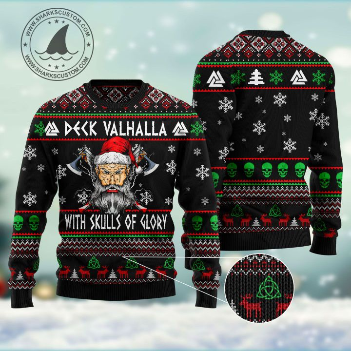 viking deck valhalla with skulls of glory all over printed ugly christmas sweater 5