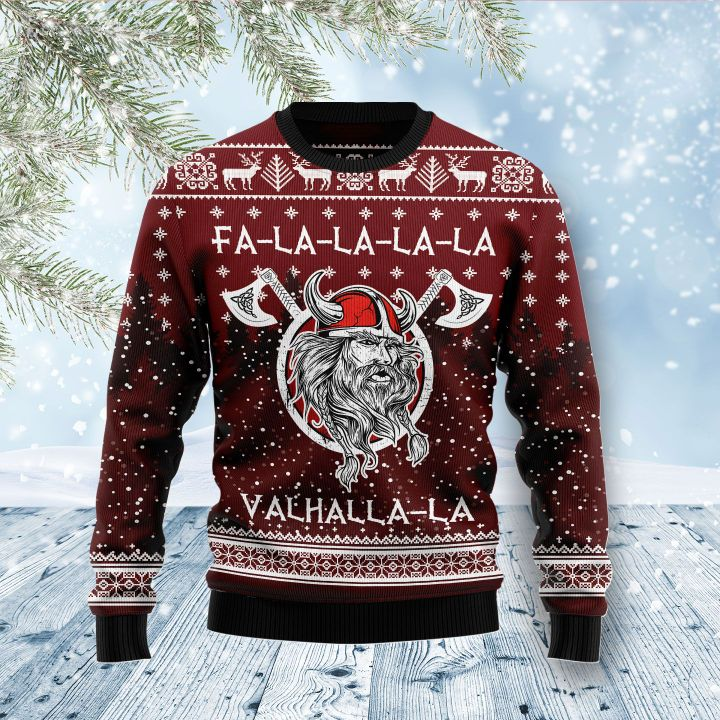 viking fa la la la valhalla la all over printed ugly christmas sweater 3