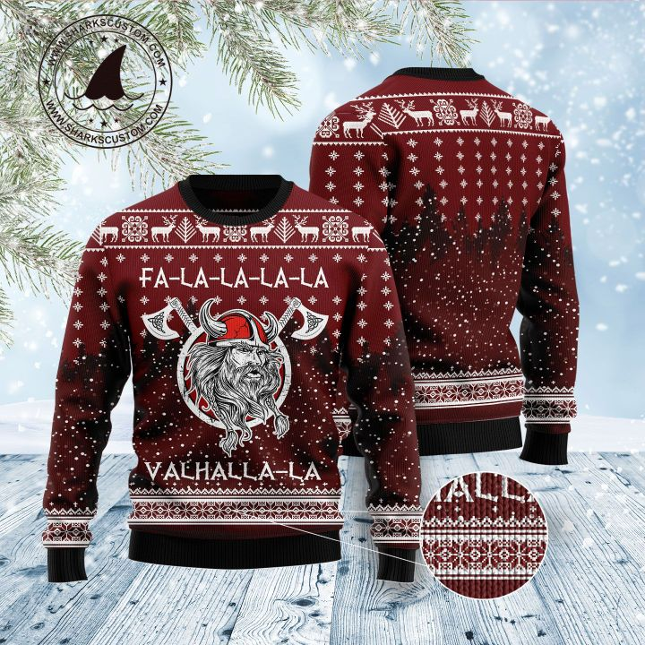 viking fa la la la valhalla la all over printed ugly christmas sweater 5