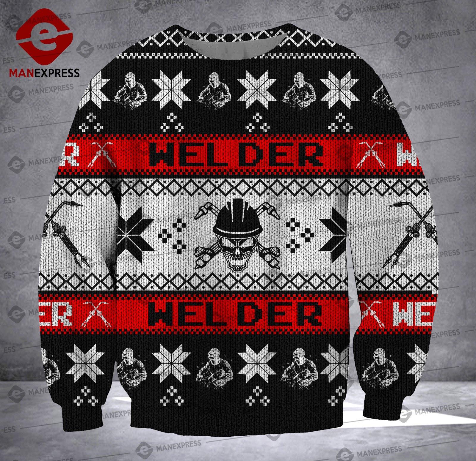 welder skull all over printed ugly christmas sweater 2