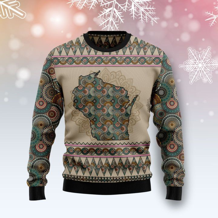 wisconsin mandala all over printed ugly christmas sweater 2