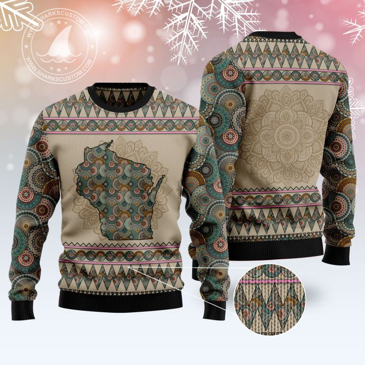 wisconsin mandala all over printed ugly christmas sweater 4