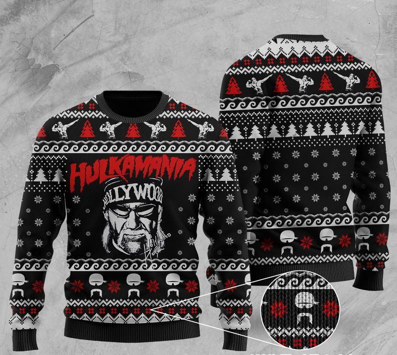 wwe hulkamania all over print ugly christmas sweater 2