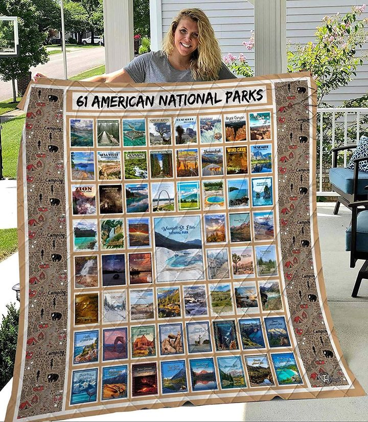 61 american national parks retro full printing quilt 2
