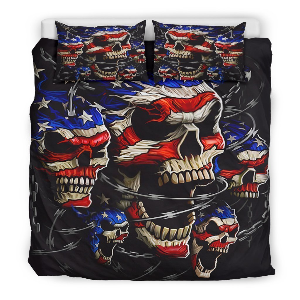 american flag skull all over printed bedding set 2