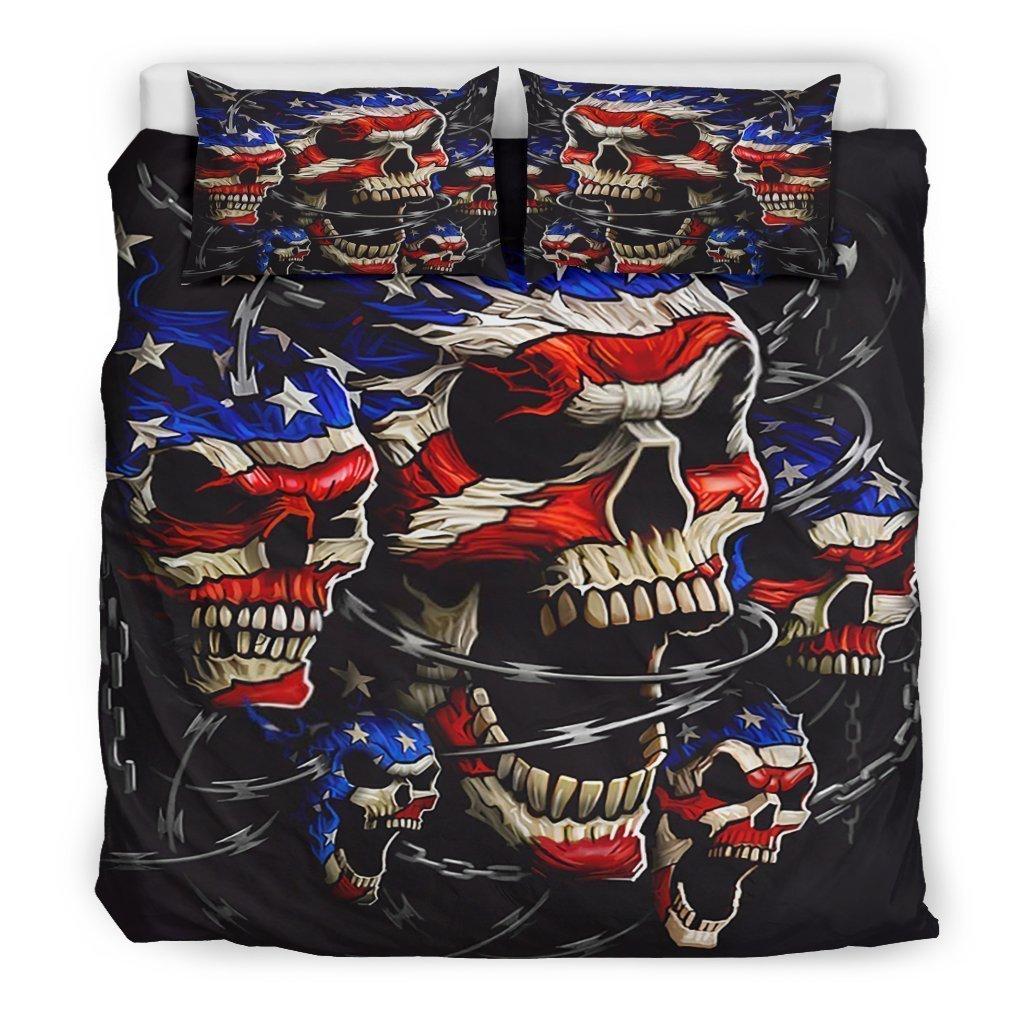 american flag skull all over printed bedding set 3