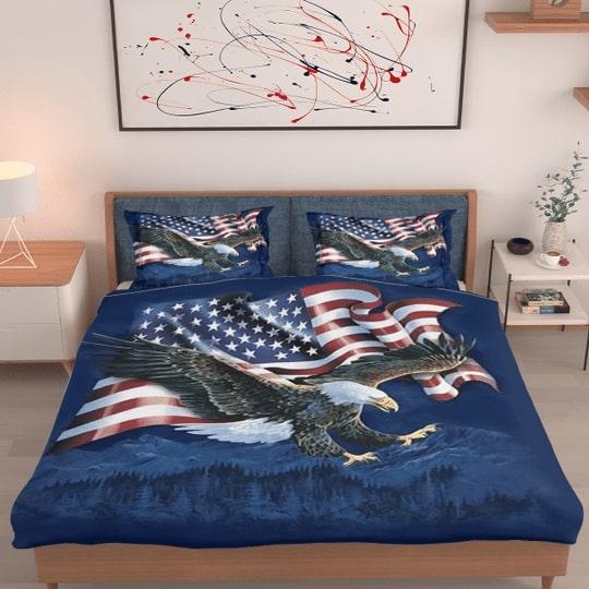 bald eagle american flag all over printed bedding set 2