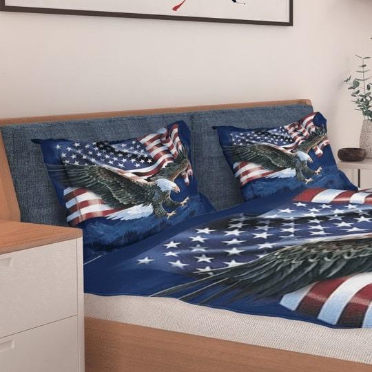 bald eagle american flag all over printed bedding set 3