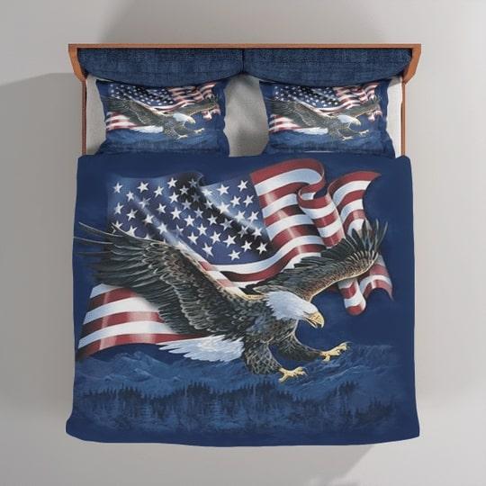 bald eagle american flag all over printed bedding set 4