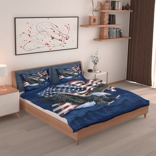 bald eagle american flag all over printed bedding set 5