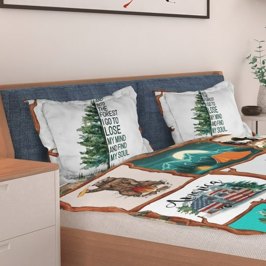 camping and into the forest i go to lose my mind and find my soul bedding set 3