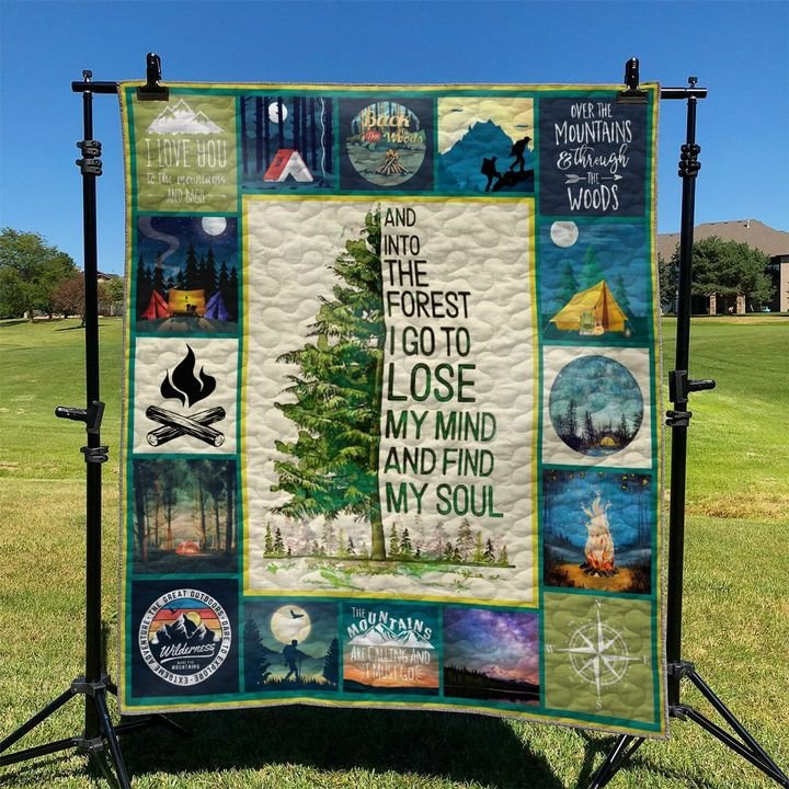 camping and into the forest i go to lose my mind and find my soul full printing quilt 5