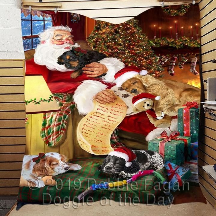 christmas santa claus and cocker spaniel full printing blanket 5