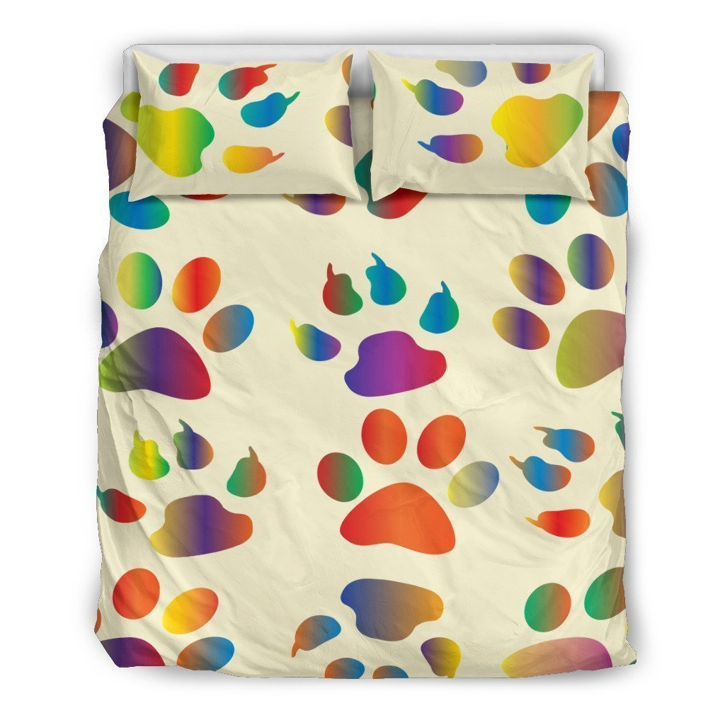 colorful dog paw all over printed bedding set 3