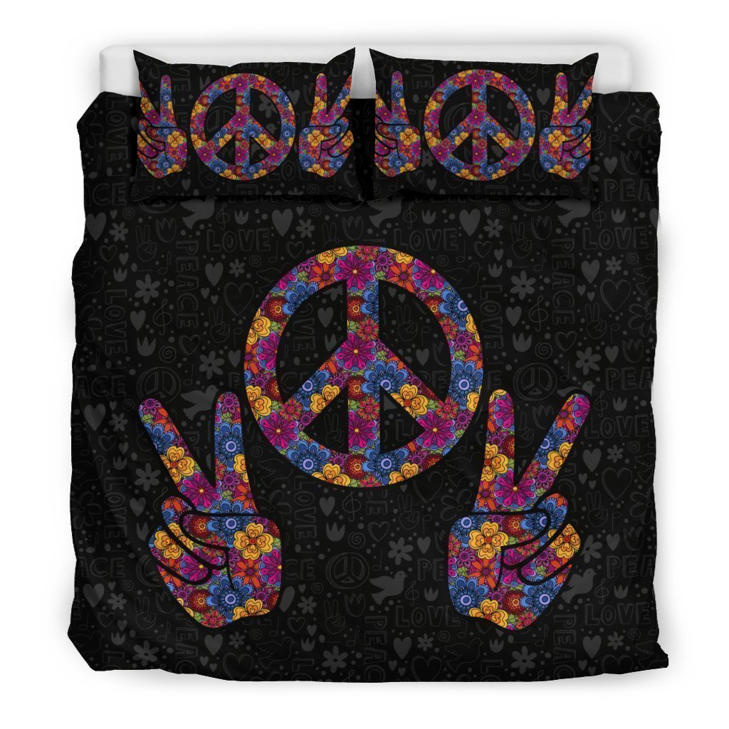 colorful hippie peace symbol all over printed bedding set 3