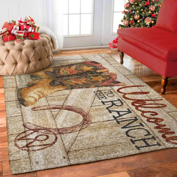 cowboy boots welcome to the ranch all over printed rug 3