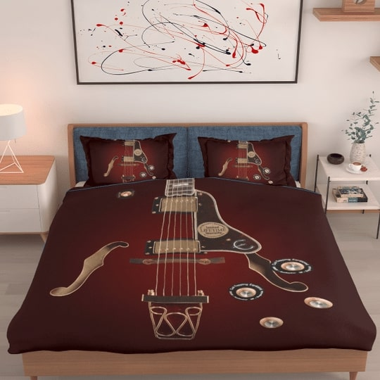 electric guitar all over printed bedding set 2