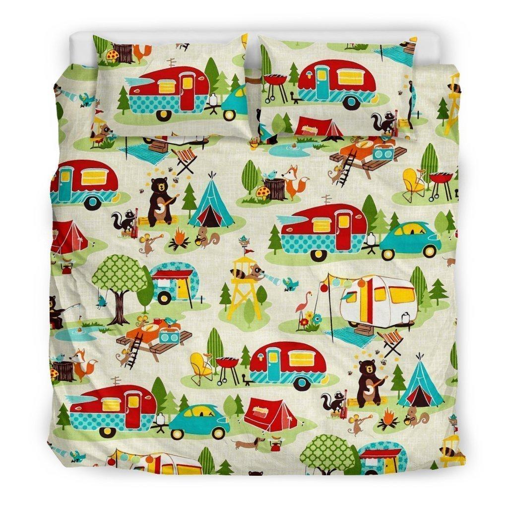 festive camper all over printed bedding set 3